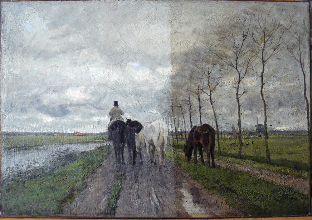 anton mauve, the road home, during cleaning